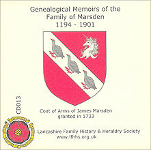 Genealogical Memoirs of the Family of Marsden 1194 - 1901 (CD013