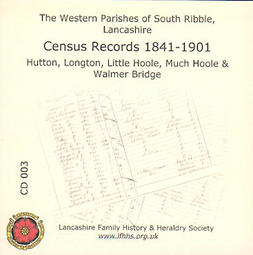South Ribble The Western Parishes, Lancs Census Records (CD003)