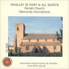 Whalley St Mary & All Sts. Parish Memorial Inscriptions (CD006)