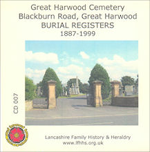 Great Harwood Cemetery, Burial Registers  1887 - 1999 (CD007)